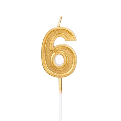 LUTER Gold Glitter Happy Birthday Cake Candles Number Candles Number 6 Birthday Candle Cake Topper Decoration for Party Kids Adults: Kitchen & Dining