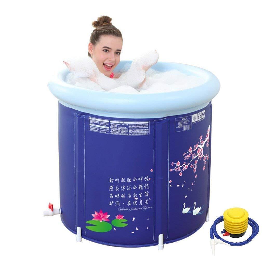 Bright love Kalte 75CM-Verdickung Vergrößerung Increase Falt-Badewanne Badewanne Bad Eimer Badebucket kostenlos aufblasbare Badewanne,75 * 70CM