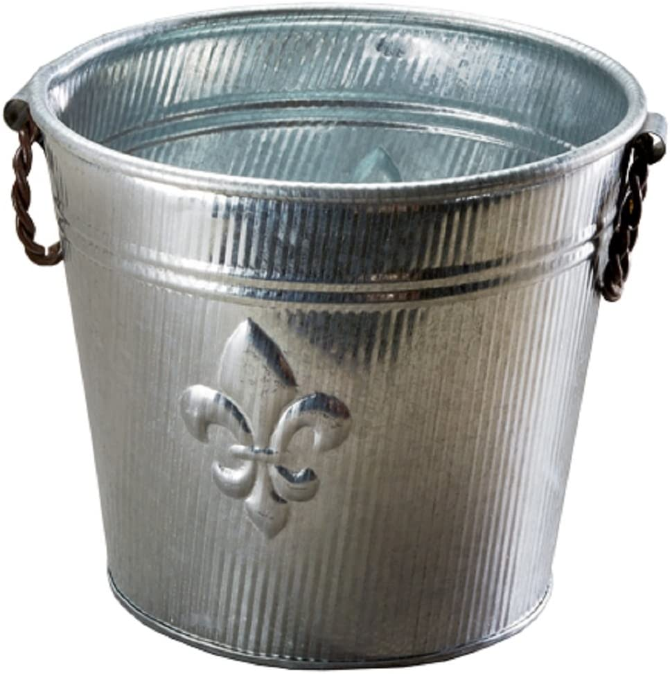 Galvanized Tin Metal Ice Bucket for Party Drinks or Planter Pail with Twisted Metal Handles, Fleur De Lis Ribbed Design