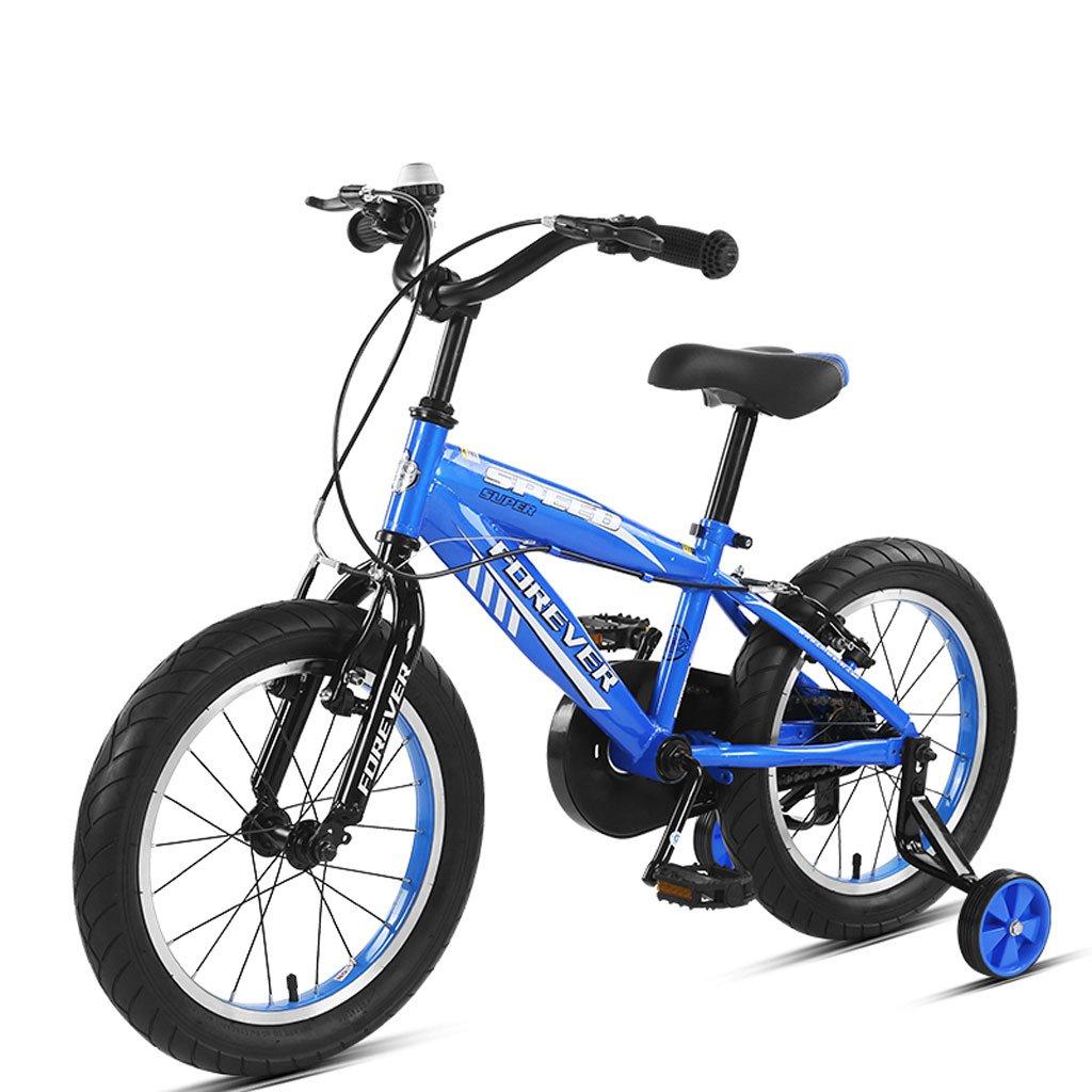 子供用自転車14インチ子供用マウンテンバイク3-5歳の子供用自転車高炭素スチール自転車、青/黄/赤 (Color : Blue) B07CVVVYKV