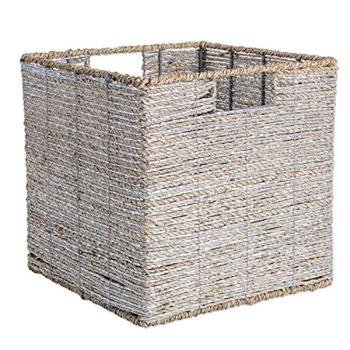 DII Decorative Woven Seagrass Cube with Metallic for Bathroom & Home Organization Solutions to Enhance Décor & Add Functionality (Medium Cube - 11x11x11