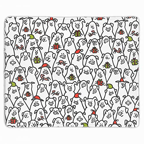 Funny Pigs with Candy Canes Mouse Mat,Premium Rectangle Mouse Mats Pads with Designs