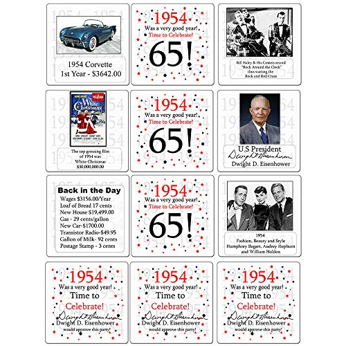 1954-65th Birthday Coaster (12 Ct.) by Partypro from Partypro