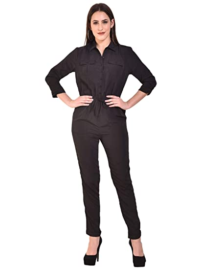 d02b3a5edf MansiCollections Full Length Black Polyester Jumpsuit for Women  Amazon.in   Clothing   Accessories