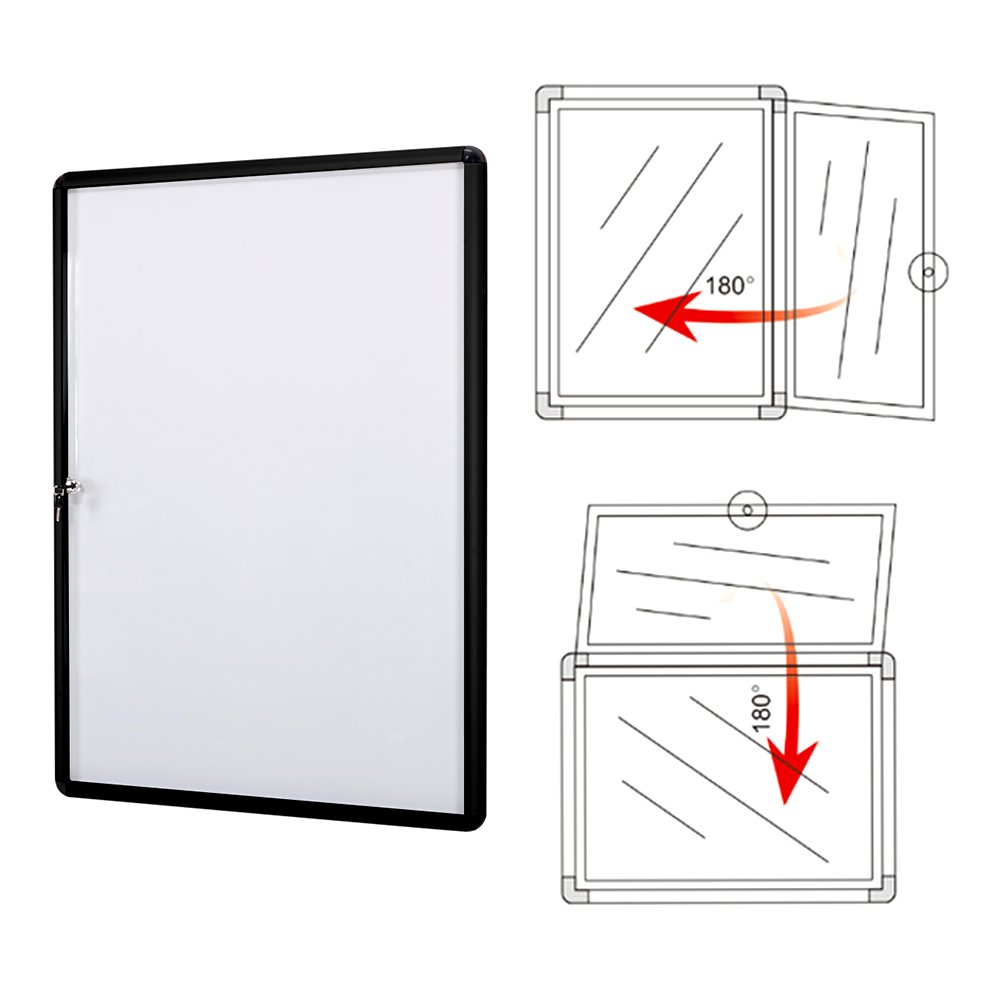 SwanSea Lockable Bulletin Boards Magnetic Whiteboard Notice Cabinet Tamperproof with Aluminum Frame 28x26inch (9xA4) by S SWANCROWN (Image #3)