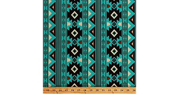 Southwestern Stripes Aztec Tribal Teal Brown Cotton Fabric Print by Yard D362.29