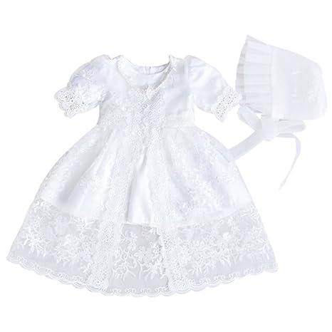 YUENA CARE Vestido para Bebé Recién Nacido con Chaqueta de Encaje y ...