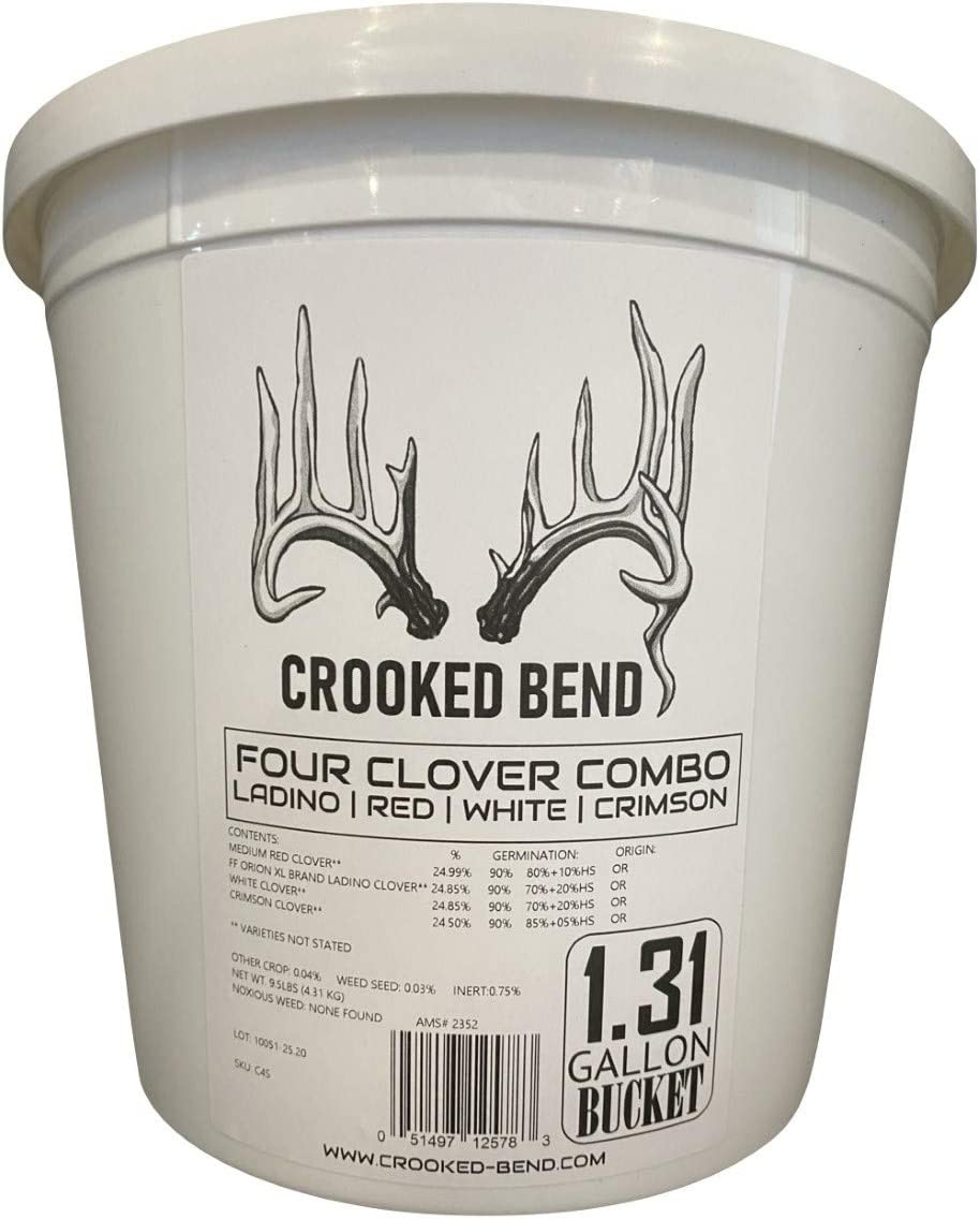Crooked Bend 9.5lb Perennial Food Plot Seed | Ladino White Red Crimson Clover Mix | for Whitetail Deer and Other Wildlife | Four Clover Combo
