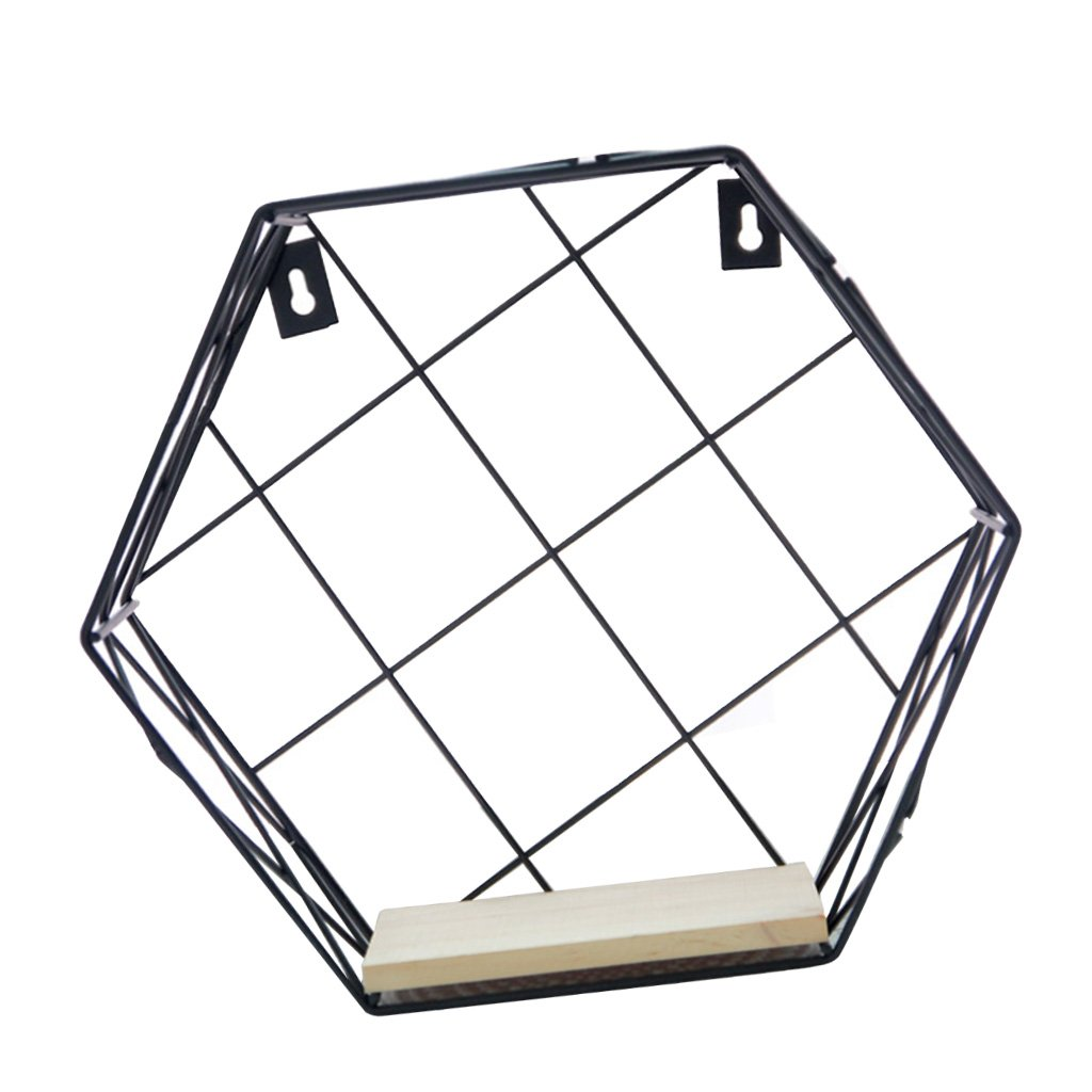 Fenteer Metal Wire Hexagon Wall Shelf Shelves Wall Mounted Bookshelf Pictures Photos Gadgets Display Rack For Home DIY Decoration - White Stripe, S