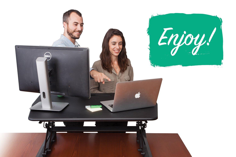 "G-PACK PRO -Desktop Standing Desk Converter - Ergonomic Desk Converter Riser Stand for Sit-To-Stand Work - Adjustable 35"" Standing Desk Monitor Riser - Fits Dual Monitor - Removable Keyboard Tray by G-Pack Pro (Image #5)"