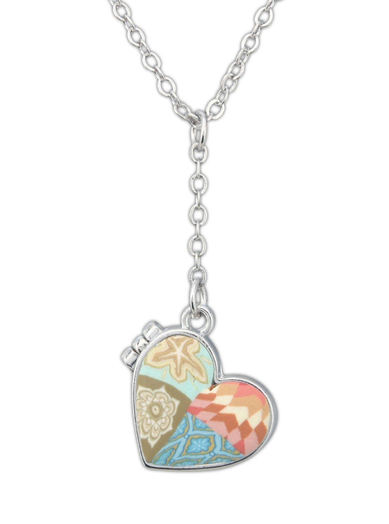 Jilzarah 16'' Heart Shaped Polymer Clay Locket Necklace with 4'' Extender (Parakeet) by JILZARAH