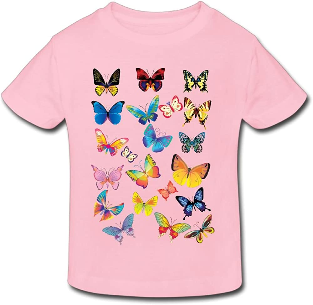 2-6 Years Wiongh Opp Short Sleeves Shirt Butterfly Party Childrens Girls Boy