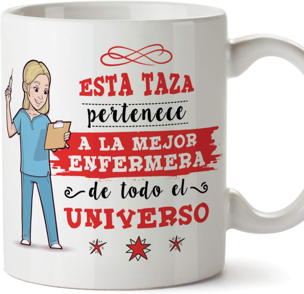 MUGFFINS Enfermera Tazas Originales de café y Desayuno para Regalar a Trabajadores Profesionales - Esta Taza Pertenece a la Mejor Enfermera del Unive