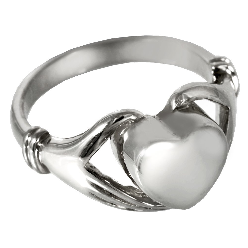 Memorial Gallery 2002s-9 Heart Ring Sterling Silver Cremation Pet Jewelry, Size 9