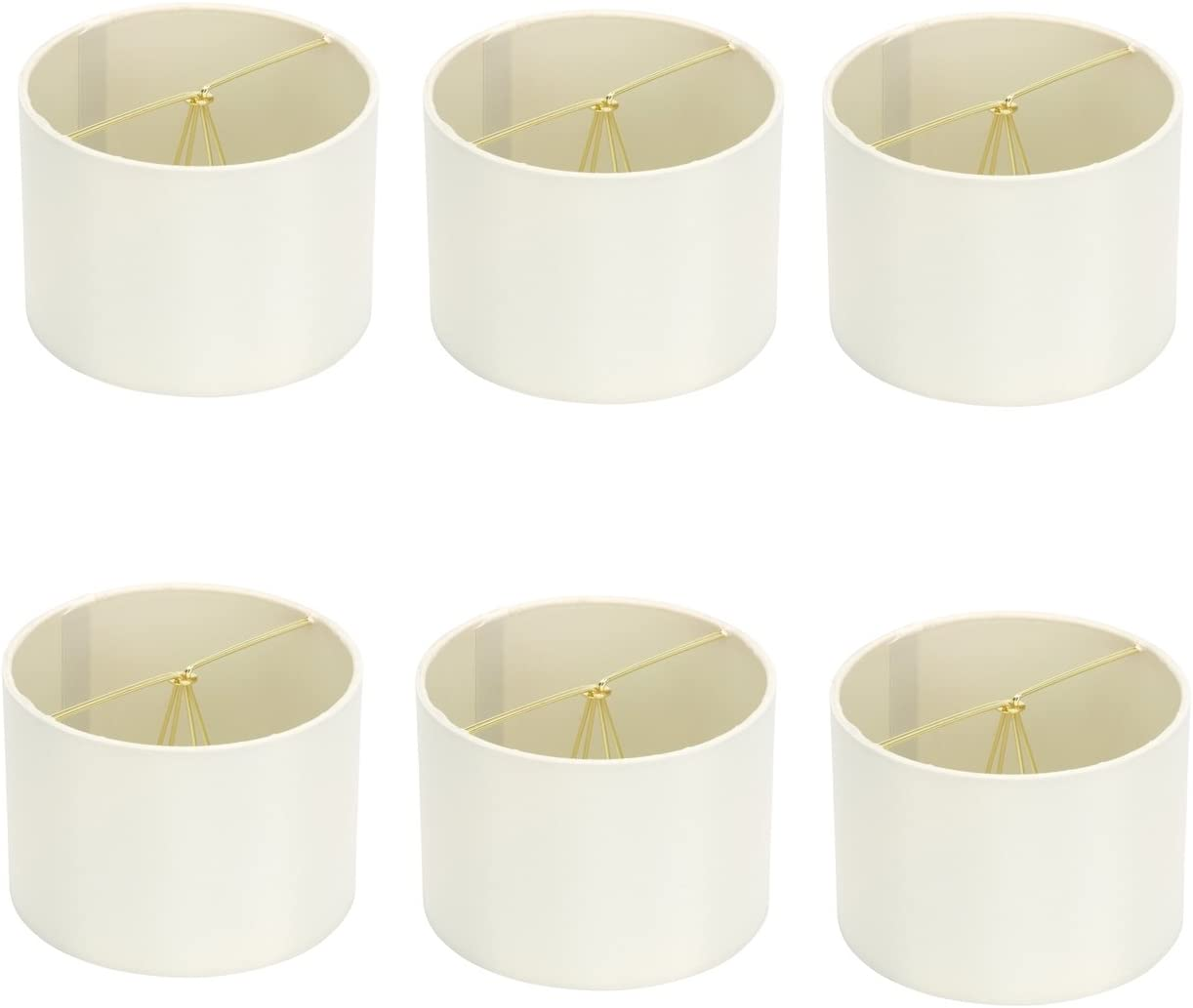 Upgradelights Eggshell Silk 6 Inch Clip On Barrel Chandelier Lamp Shades Set of 6 6x6x4