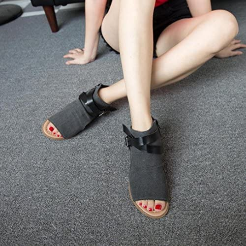 Xinan 2018 Fish Mouth Sandals Compensate With Buckle Solid Color Student Sandales Femmes Plates Cuir Sandals EU:38, Caf/é