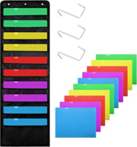 Premium Hanging File Folders,10 Pockets,10 Folders, Wall Mount Storage Charts 3 Over Door Hangers, Cascading Wall Organizer, Perfect for Home Organization,School Pocket Chart,Office Bill Filing & More