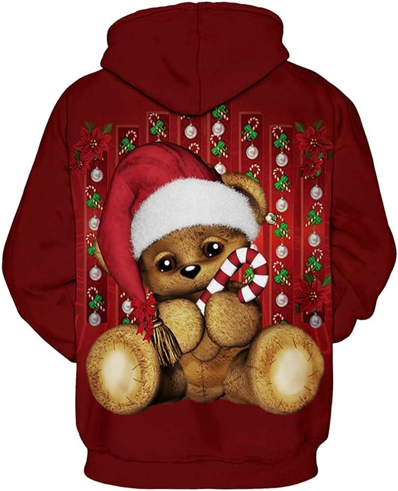GLUDEAR Unisex 3D Ugly Christmas Printed Hoodies Sweatshirt Plus Size S-5XL