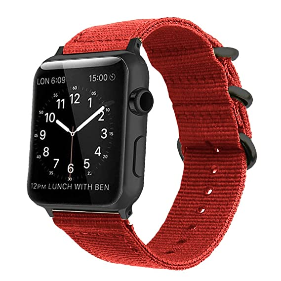 8cd6e5f0338 Image Unavailable. Image not available for. Color  38mm 40mm Red Compatible  Apple Watch Band ...