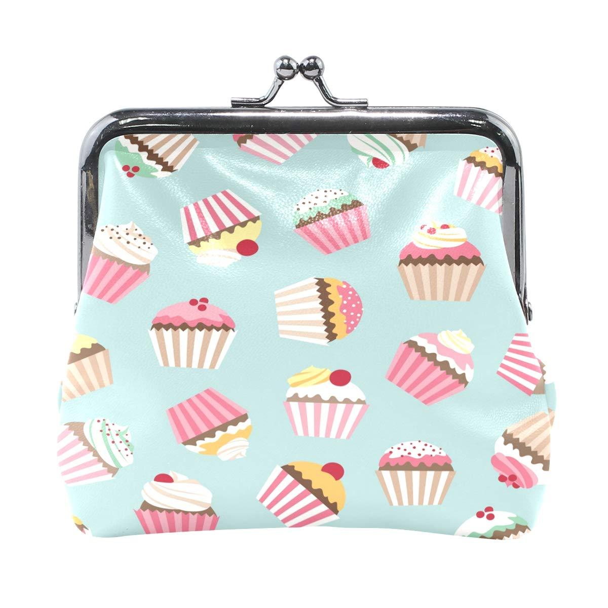 Women Wallet Purse Cute Sweet Cupcake Retro Clutch Bag Leather