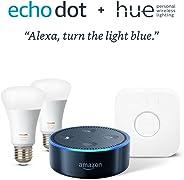 Echo Dot + Philips Hue Smart Bulb Kit - Black