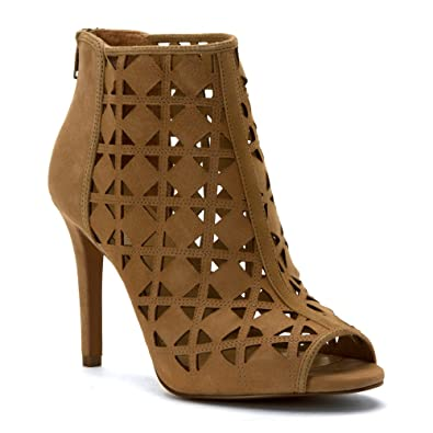 18726637b9712 Michael Michael Kors Womens Ivy Leather Open Toe Ankle, Dk Khaki, Size 7.5  Veca
