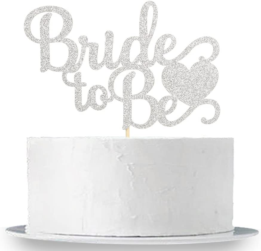 Bridal Shower Party Decorations Supplies Silver Glitter Bride To Be Cake Topper