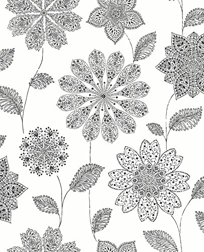A-Street Prints 2716-23849 Panache Black Floral Wallpaper,