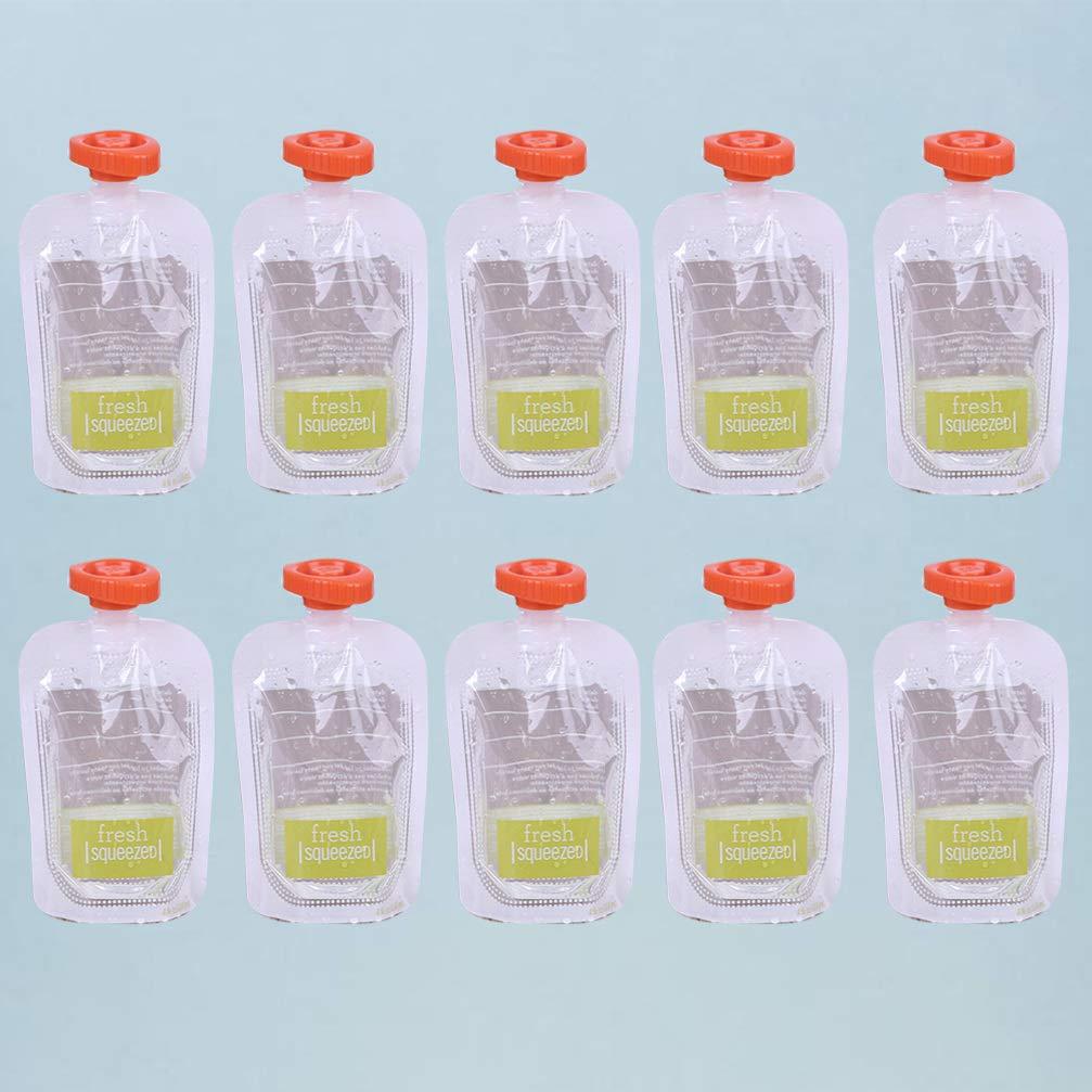 Vosarea 10 piezas Bolsas de almacenamiento para beb/és reutilizables bolsas de alimentos exprimibles contenedor de almacenamiento de leche materna para beb/és