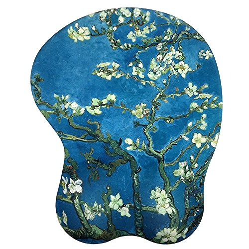 Ergonomic Mousepad with Wrist Support - Protect Your Wrists and De-Clutter Your Desk - Premium Mouse Pad with Wrist Rest - Latest Custom Non-Slip Design (Almond Blossoms)