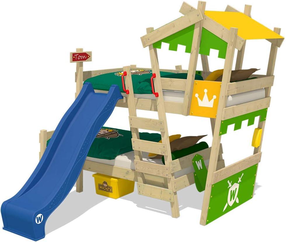 rosso WICKEY Letto a soppalco CrAzY Jelly Letto per bambino con tetto Letto da gioco 90x200 per bambini con rete a doghe e gru