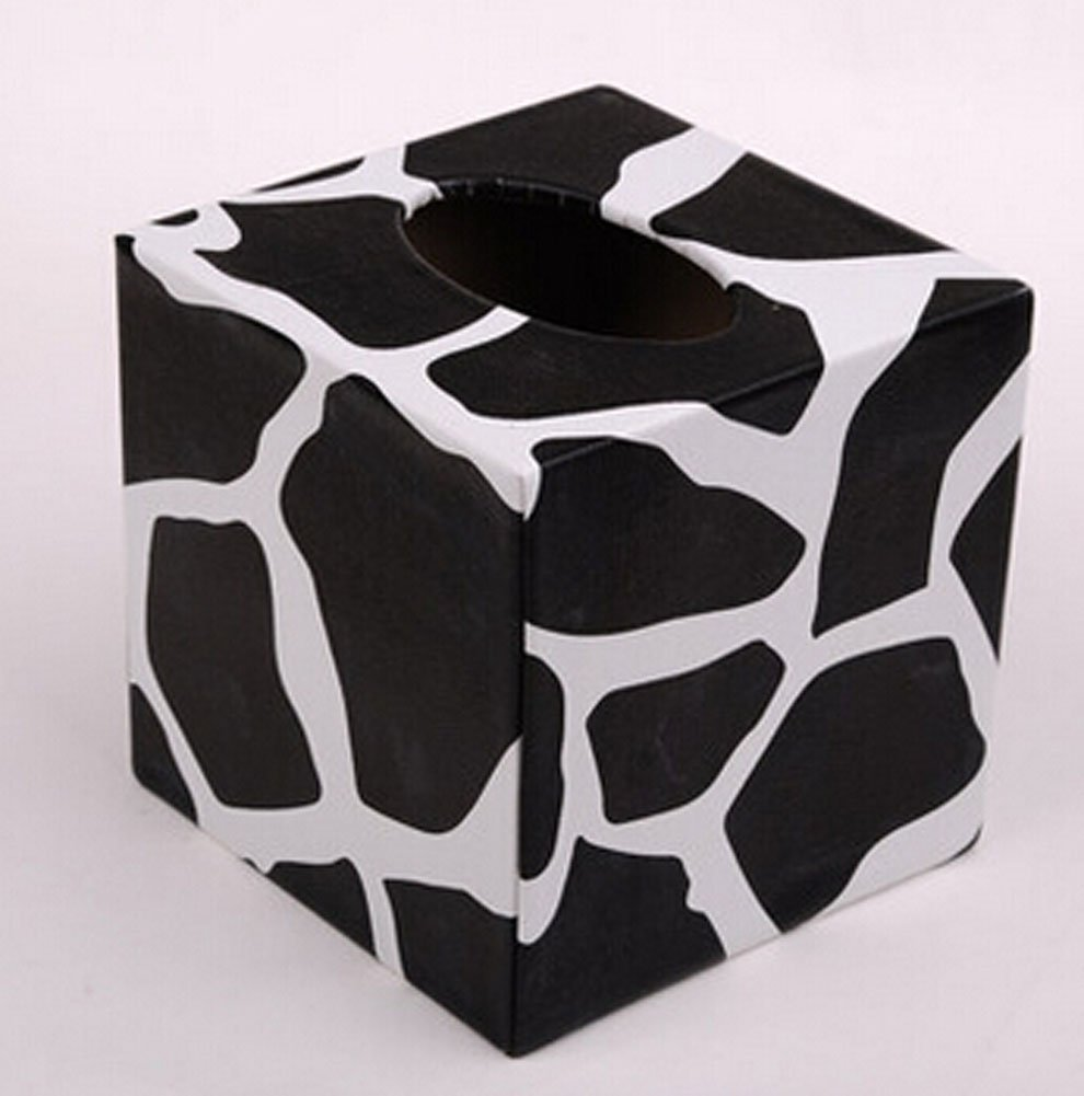 Leather Square Tissue Box Creative Personality Living Room Home Office Pumping Tray Box (White)