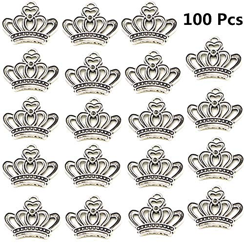 (Xinhongo 100pcs Vintage Antique Silver Alloy Crown Shape Charms Pendant Connector Jewelry Findings for Jewelry Making and Crafting Necklace Bracelet Pendant DIY Accessaries,23x18mm (Silver Crown))