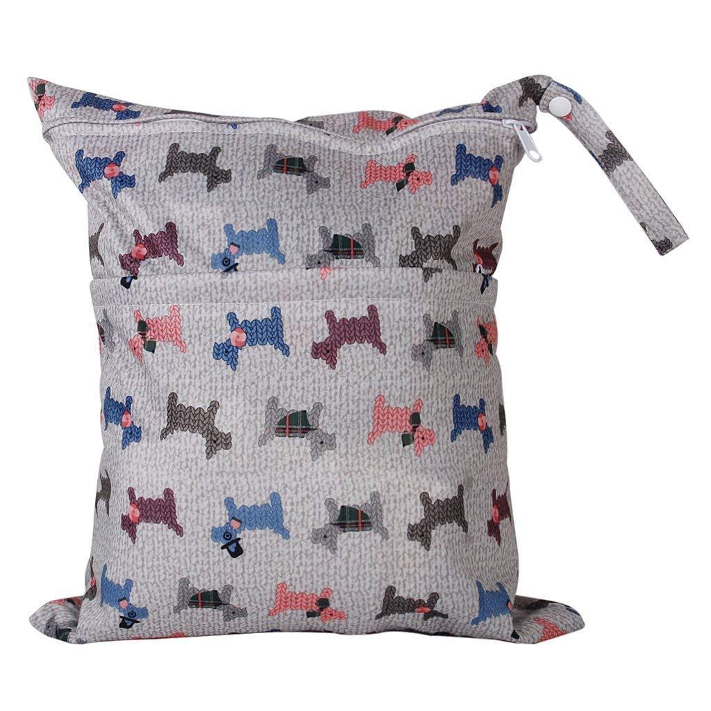 XSM Baby-Windel-Beutel-Doppelte Fach-Wasserdichte Waschbare Wiederverwendbare Speicher-Beutel-Baby-hä ngenden Windel-Tasche mit Zwei Reiß verschlusstaschen-Taschen-Hundemuster
