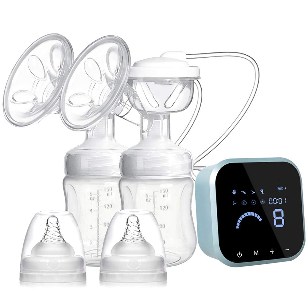 SUMGOTT Electric Breast Pump, Double/Single Rechargeable Breastfeeding Pump with 8 Modes and 10 Suction Levels for Breast Milk Suction and Breast Massage