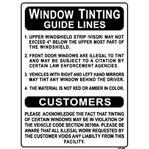"Window Tinting Guide Lines... 24""x18"" Heavy Duty Indoor/Outdoor Plastic Sign"