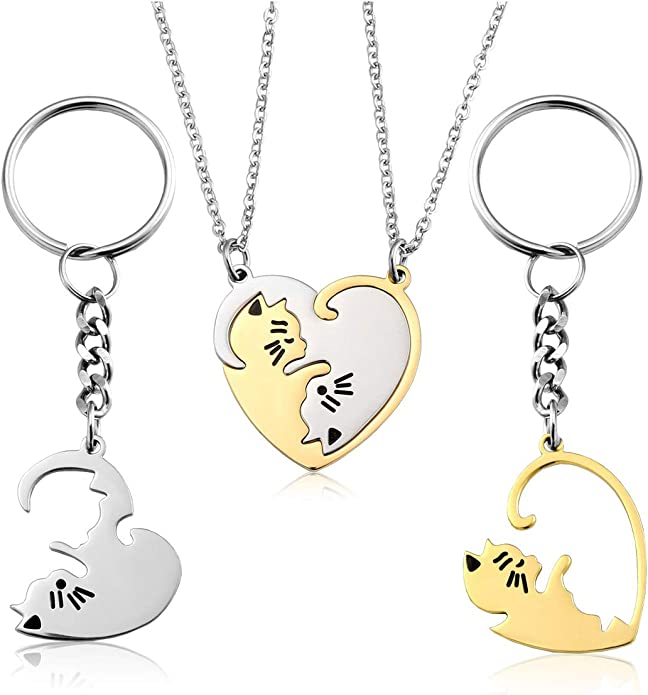 Jovivi Personalized Custom 2pcs Cat Heart Couples Necklaces His/&Hers Jewelry Stainless Steel Silver Gold Yin Yang Puzzle Piece Pendant Necklace for Lover Couples