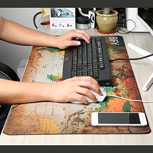 BIFY Mouse Pad Extended XXL Gaming Mouse Pad 900x400mm Large Waterproof Non-Slip Ruber Base World Map Desk Mat Office Work Mat Card Game Table Desk Cover Poker Mat (yellow map)
