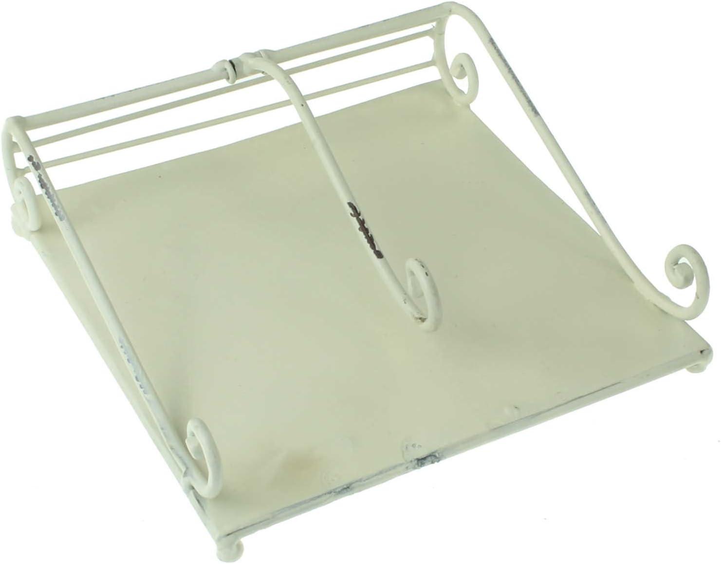 MACOSA SA81962 Servietten-St/änder Antik Creme-Wei/ß Metall Gewichtshebel 18,5x18,5 cm Shabby Chic Servietten-Korb Papierservietten Aufbewahrung Halter
