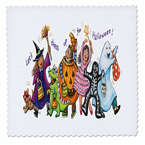 3dRose Cute Illustration Of Halloween Trick Or Treaters - Quilt Square, 10 by 10-inch -