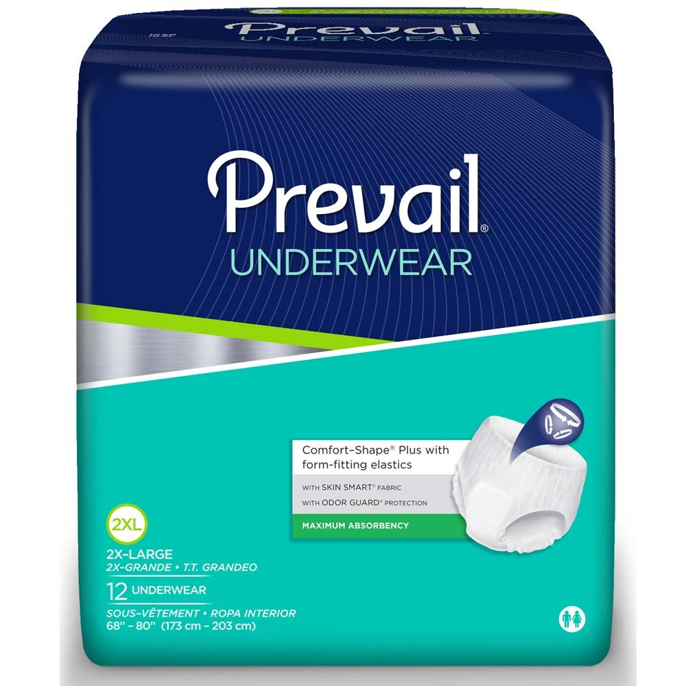 Prevail Maximum Absorbency Underwear, 2X-Large, Pack/12