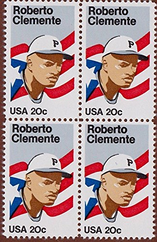 Roberto Clemente Block of Four 20 Cent Stamps Mint Stamps Scott 2097 By USPS