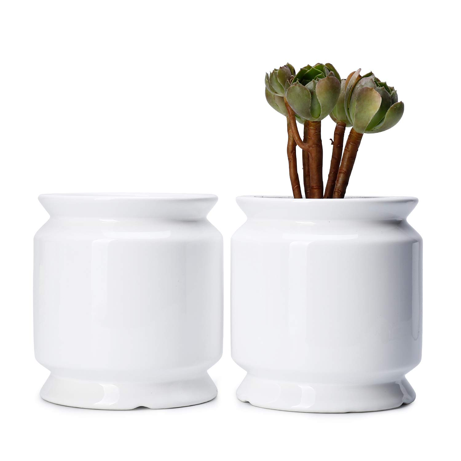 Potey Ceramic Plant Flower Pots Planters – 3.6 with Drain Hold Tall Medium Pots Cylinder Container – Minimalis Decor Indoor Plants – Set of 2, Pure White, Mode 3