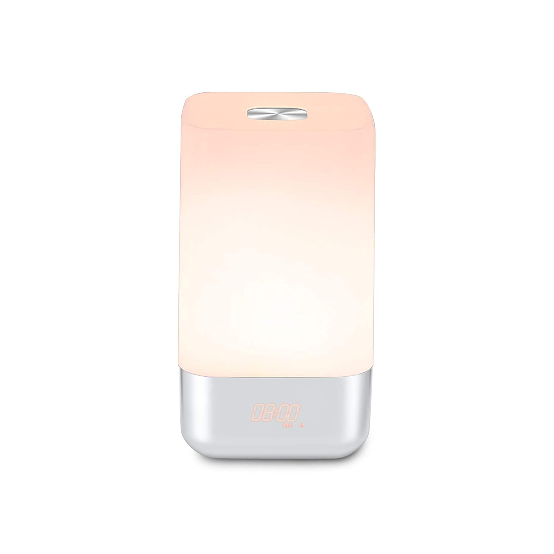 Alarm Clock Wake-Up Light Sunrise Simulation Alarm Clock Touch Control Electronic Alarm Clock Sunrise Simulation/3 Brightness Modes/5 Natural Sounds LED Night Light for Bedrooms VEHOLION