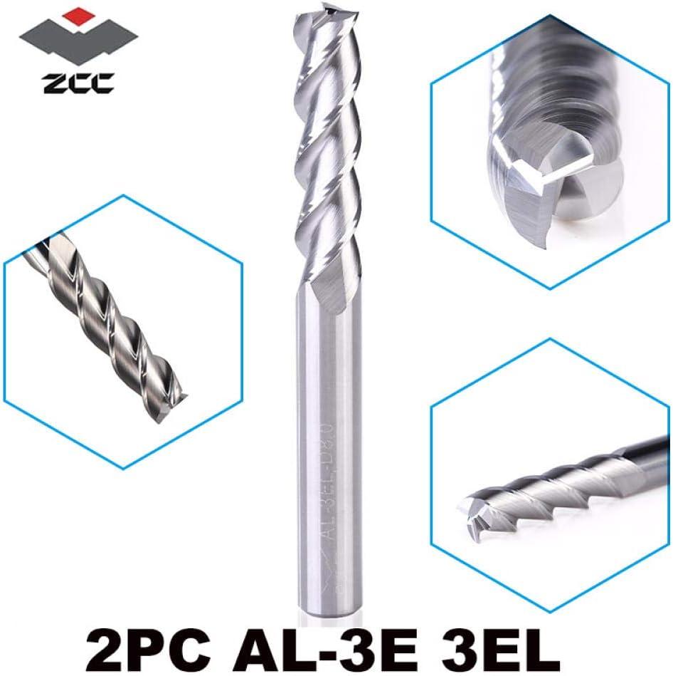 Drill Bit Sets 2pcs/lot ZCCCT AL-3E AL-3EL Solid Tungsten Carbide end Mill 3 Flute Square Head milling Cutter Aluminum Cutter Profile cutter-2PC-AL-3EL-D8.0 2pc-al-3el-d12.0