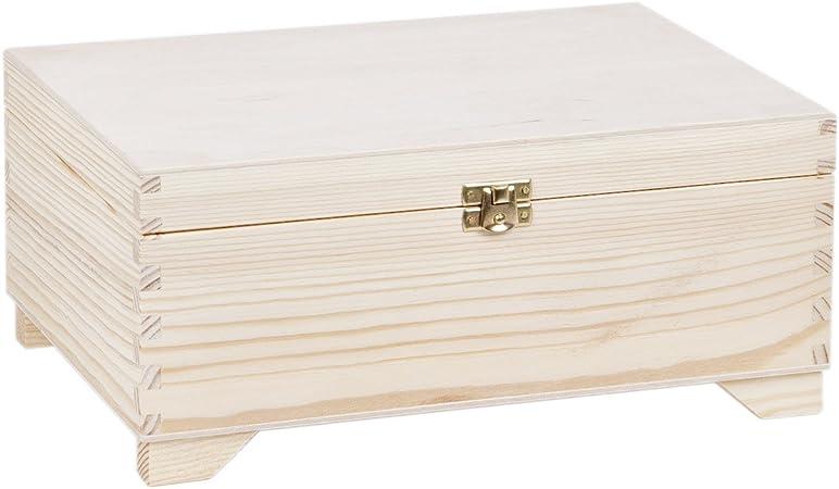 Caja de madera con candado 30 x 20 cm, 1 caja, caja de madera: Amazon.es: Hogar