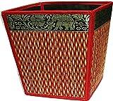 chantubtimplaza Waste Basket Thai Elephant Silk Reed Paper Bin Home Decor Brown Color