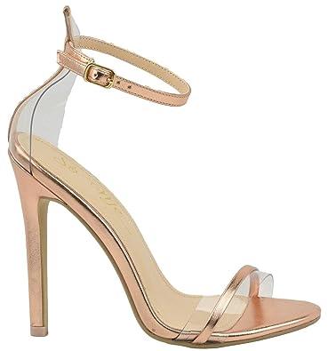 85577cc3d3c1 So Me Benji Ankle Strap Clear PVC Strap Stiletto High Heel Open Toe Sandal  Rose Gold