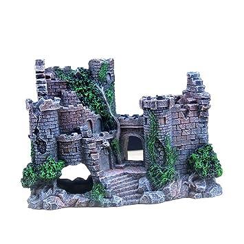MUJING Adornos para Acuarios Resina Decoraciones De Castillos - Accesorios para Suministros De Tanques De Peces: Amazon.es: Hogar