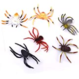 Plastic Kids Toy Model Spider Toy Set of 6pcs Multi-color